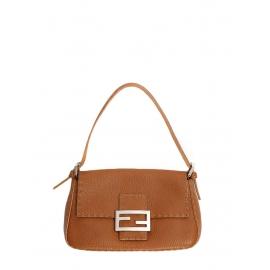 BAGUETTE Camel brown grained leather shoulder bag Retail price €1200