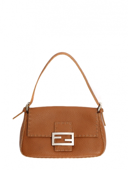 084753ed53 Louise Paris - FENDI BAGUETTE Camel brown grained leather shoulder ...