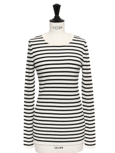 Black and white striped merino wool Breton sweater Retail price €135 Size 36