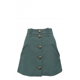 Almond green crepe wool A-line buttoned skirt NEW Retail price €800 Size 40