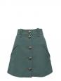 Jupe trapèze en crêpe de laine vert amande et boutons argentés NEUVE Prix boutique 800€ Taille 40