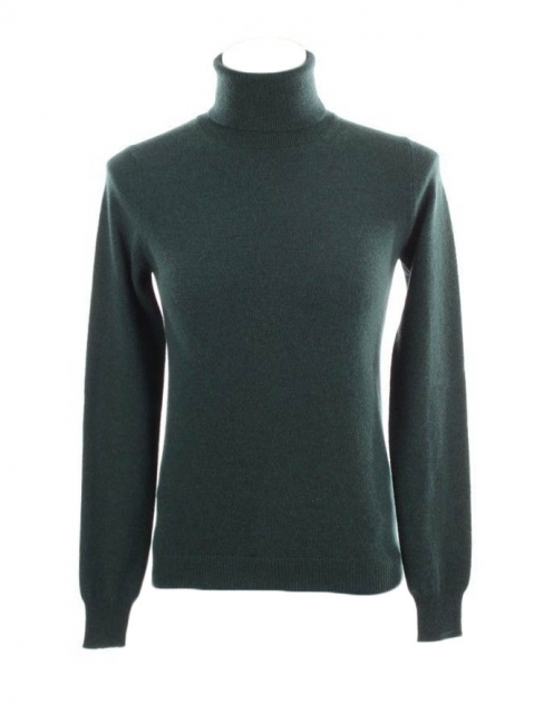 English green pure cashmere roll neck sweater Retail price €700 Size 36