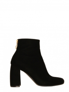 Black velvet curved block-heel ankle boots Retail price €695 Size 37