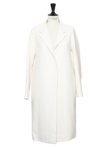 Ecru white cotton and linen long coat Retail price €390 Size 36