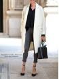 Manteau long en coton et lin blanc écru Prix boutique 390€ Taille 36