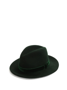 GEORGINA Dark green wool-felt fedora hat Retail price €366