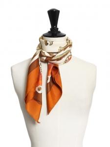 Foulard carré en twill de soie CHEVAL TURC Prix boutique 350€ Taille 90 x 90