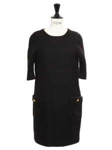 Black wool and mohair blend dress embellished with gold buttons Retail price 1100€ Size XS