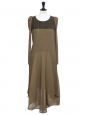 Khaki green pleated dress NEW Retail price €1800 Size XS