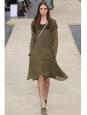 Khaki green pleated dress NEW Retail price €1800 Size XS