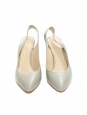 BECKIE Almond green leather gold-plated heel slingback pumps NEW Retail price €725 Size 41