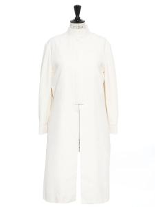 Manteau fin col Mao en soie blanc ivoire NEUF Prix boutique 1600€ Taille 38