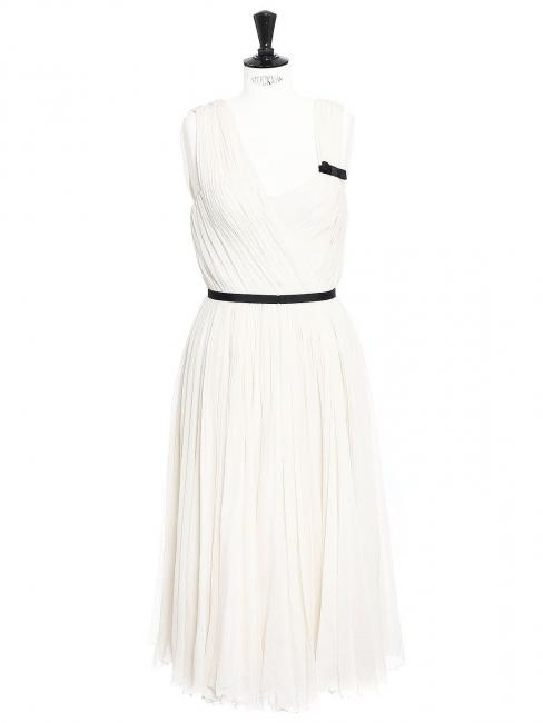 5e8a797e15 Louise Paris - CHLOE White pleated silk chiffon draped dress Retail ...