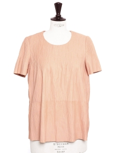Blouse manches courtes en cuir d'agneau plissé rose bonbon Prix boutique 1900€ Taille 36