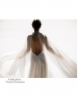 White silk crepe open back LIBELLULE long bridal dress Retail price €2300 Size 36