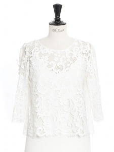 ENVOLEE White guipure lace open back top Retail price €520 Size 36