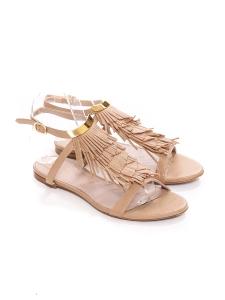 Sandales plates à franges en suède beige rosé Prix boutique 450€ Taille 37