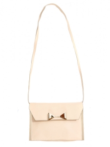 RACHEL bow-embellished pink beige leather clutch bag Retail price €895