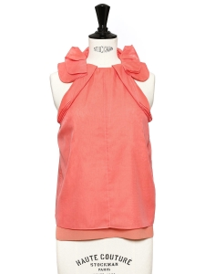 Top sans manches en organza de soie rose pivoine Prix boutique 620€ Taille XS