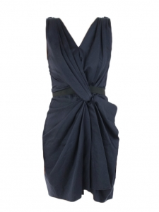 Midnight blue cotton crepe draped dress Retail price €1200 Size 38