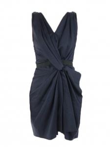 Robe sans manches drapée bleu nuit Prix boutique 1200€ Taille 38