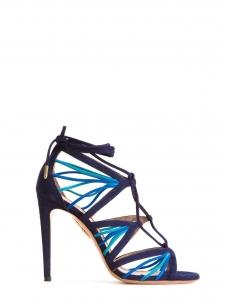 Sandales stiletto VERY HOLLI en suède bleu marine et océan Prix boutique 750€ Taille 38,5