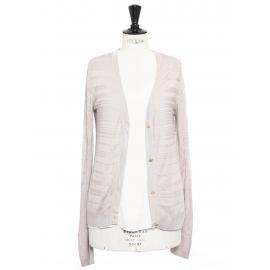 Light grey pink silk and cotton cardigan Retail price €550 Size 36