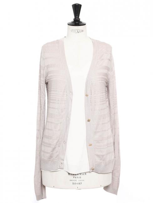 Gilet en soie et coton gris rose et boutons dorés Prix boutique 550€ Taille 36