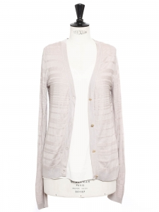 Beige pink silk and cotton cardigan Retail price €550 Size 38
