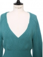 Celadon green blue knitted wool V neck sweater Retail price €800 Size 36