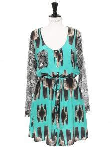 Green and black NAYA printed silk dress Retail price €90 Size 38
