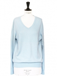 Sky blue cotton V neck sweater Size S