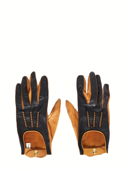 Black and tan brown luxury lambskin leather gloves size 6.5