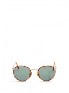 Brown tortoiseshell thin frame round sunglasses Retail price €175