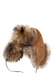 Brown and beige fur trapper eskimo hat Size S/M (56/57)