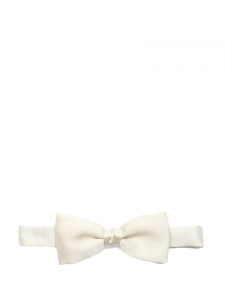 White ecru silk PALACE bow tie Unique size