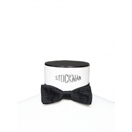 Black pleated silk bow tie