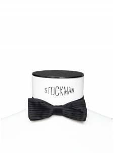 Black pleated silk bow tie