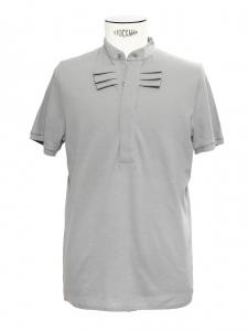 Grey cotton Mandarin collar polo shirt Retail price €110 Size M