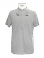 Grey cotton Mandarin collar polo shirt Retail price €110 Size M