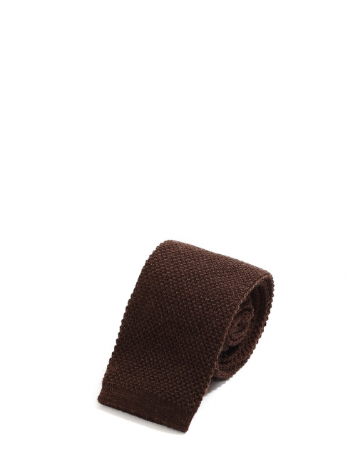 Chocolate brown wool knitted squared bottom tie NEW