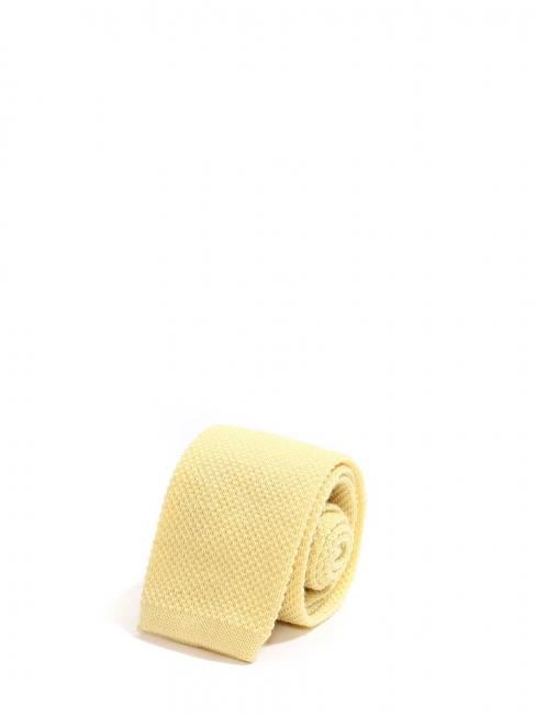 Cravate tricotée en maille de laine jaune à bout carré NEUVE