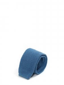 Cravate tricotée en maille de laine bleu azur à bout carré NEUVE