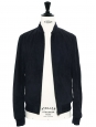 THE FERRIS Navy blue suede leather varsity jacket NEW Retail price $1455 Size S
