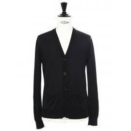 Gilet cardigan en maille fine de laine noire Prix boutique 480€ Taille S