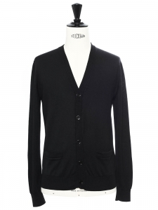 Gilet cardigan détail ajouré en laine noire Prix boutique 480€ Taille S