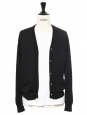 Black fine wool openwork detail cardigan Retail price €480 Size S