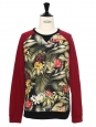 Tropical printed burgundy cotton men's sweater Retail price €180 Size M