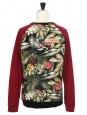 Tropical printed burgundy cotton men's sweater Retail price €180 Size M