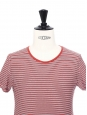 Red, black and white striped short sleeved shirt Retail price €75 Size XS